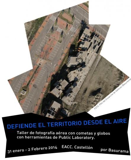 Cartel del taller de fotografía aérea en Castellón.