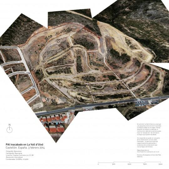 Mapa de un PAI inacabado en La Vall d'Uixó.